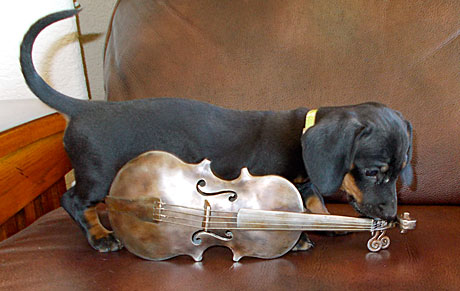 miniature violin of handcrafted steel