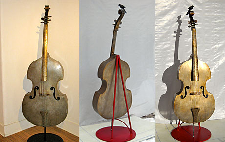 handcrafted steel bass sculptures