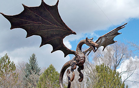 dragon sculpture in rusted handcrafted steel