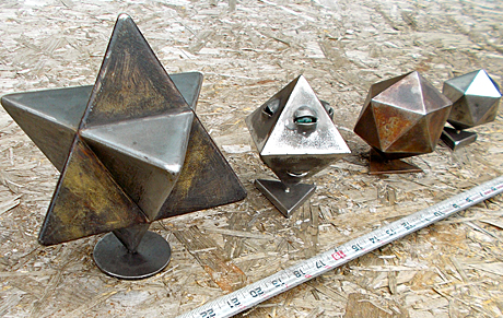 variations on a Tetrahedra in handcrafted steel